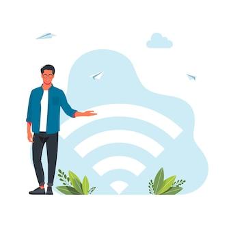 モバイルガジェット、タブレットpc、スマートフォンを使用している無料のインターネットゾーンの人々。大きなwifiサイン。無料のwifiホットスポット、wifiバー、パブリックアセスメントゾーン、ポータブルデバイスのコンセプト。ベクトルイラスト