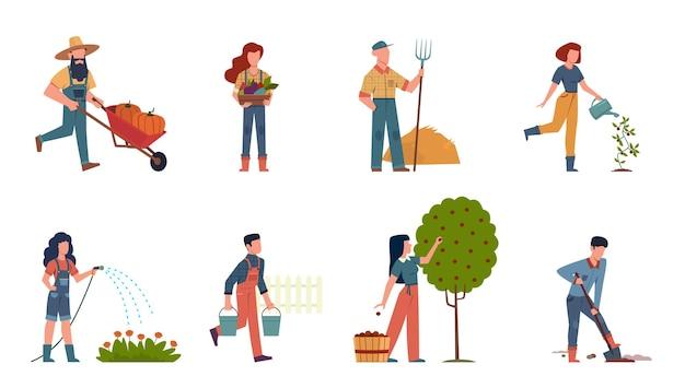 장비와 정원에있는 사람들