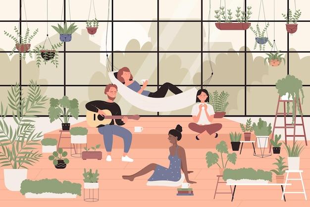 温室の家の庭の人々