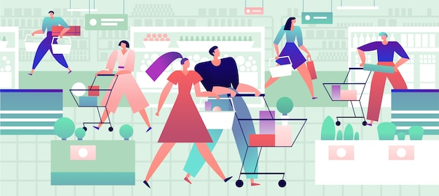 식료품 점에있는 사람들. 쇼핑 카트와 가방을 든 남녀는 슈퍼마켓에서 식품을 구매합니다. 소매 벡터 개념입니다.