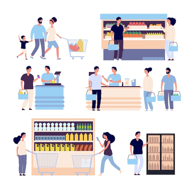 Набор людей в продуктовом магазине