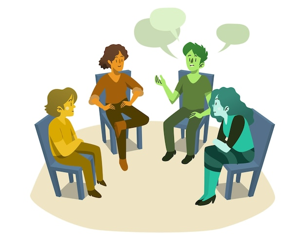 Люди в групповой терапии обсуждают