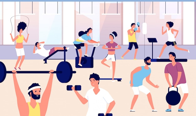 체육관에있는 사람들. 체육관에서 피트니스 운동, 심장 훈련 및 역도를하는 선수 그룹. 스포츠 라이프 스타일 벡터 개념
