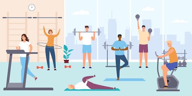 ジムの人々。トレーニング器具、エアロバイク、トレッドミルの男女。フィットネストレーニングと屋内スポーツルームフラットベクトルの概念。バーベルとケトルベルを持つ男性キャラクター