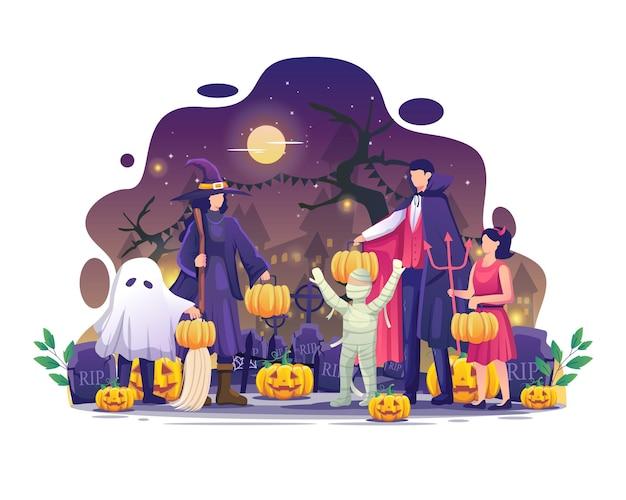 カボチャを運ぶハロウィーンの衣装を着た人々は、ハロウィーンの夜のイベントのベクトル図を祝う