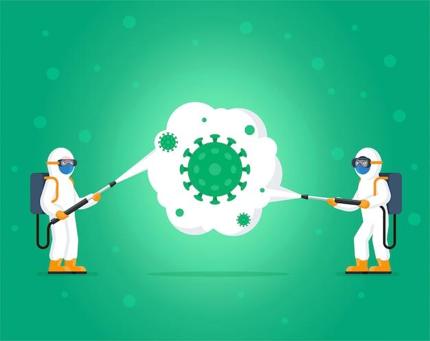 Люди в защитных костюмах очищают и дезинфицируют клетки коронавируса. концепция вируса mers-cov, эпидемия, ухань, риск пандемии 2019-ncov.