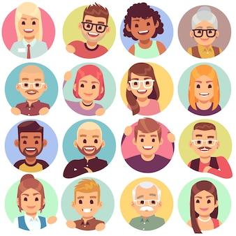 구멍에있는 사람들. 원형 창문의 얼굴, 인사하는 감정적 인 사람들, 의사 소통하는 문자 미소. 아바타 이웃의 표현 웃음 감정 세트