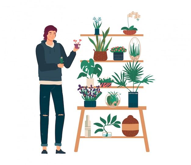家の庭のイラスト、白の植物の鍋が付いている棚の隣に立っている漫画男庭師キャラクターの人々