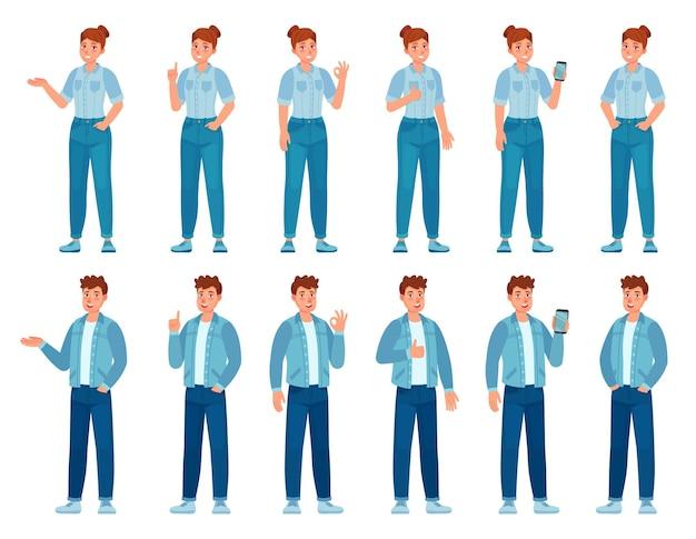 Люди в джинсах жестикулируют. счастливые стоя женщина и мужчина в повседневных джинсовых рубашках и брюках, показывая жесты. подросток, держащий телефон, набор векторных. иллюстрация счастливый мужчина и женщина в повседневных джинсах
