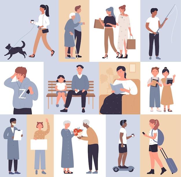 Люди в сценах образа жизни устанавливают женщину, мужчину, гуляющую с собакой, слушают музыку, делая покупки