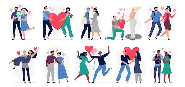Влюбленные люди. набор векторных иллюстраций. женщина и мужчина.