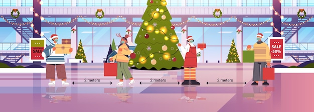 코로나 바이러스 전염병 새해 크리스마스 휴일 축하 개념 쇼핑몰 인테리어 전체 길이 가로 벡터 일러스트 레이 션을 방지하기 위해 사회적 거리를 유지하는 마스크에있는 사람들