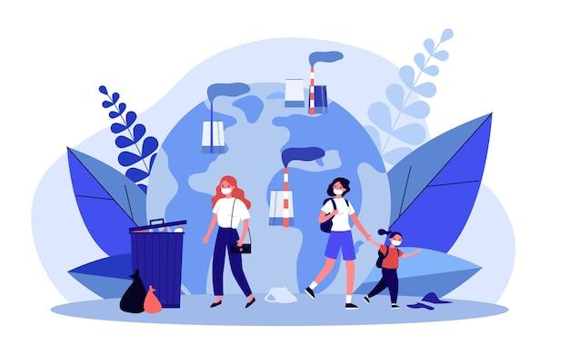 Люди в масках, защищающих от пылевого загрязнения воздуха. семейные персонажи, идущие возле заводских труб с дымом плоской векторной иллюстрации. концепция грязного города для баннера, веб-дизайна или целевой веб-страницы