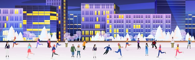 Люди в масках катаются на коньках на катке смешанная гонка мужчины женщины веселятся новогодние каникулы коронавирус карантин концепция городской пейзаж фон полная длина горизонтальная векторная иллюстрация