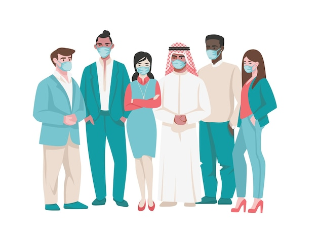 의료 마스크를 쓴 사람들. 의료용 얼굴 마스크, 코로나바이러스 예방, 검역 등 다양한 캐릭터를 만화화합니다. 벡터 일러스트 대기 오염 및 호흡기 감염 보호