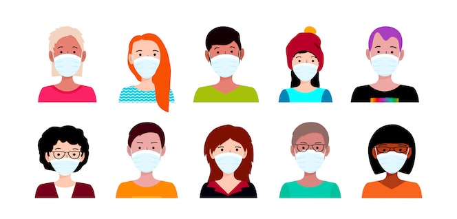люди в медицинской маске. концепция вспышки коронавируса ухань. covid-19 опасность и опасность для здоровья населения заболевание и вспышка гриппа.
