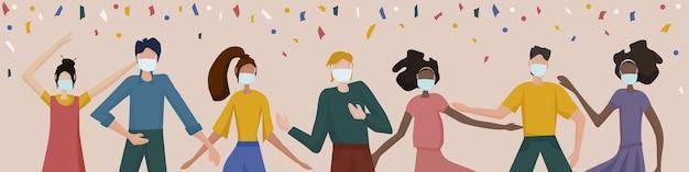 파티에서 춤추는 의료 마스크를 쓴 사람들