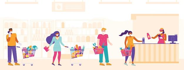 Люди в медицинских масках стоят в очереди и держатся на безопасном расстоянии. линия на кассе. розничная женщина кассир со сканером штрих-кода и линии клиентов. мужчины и женщины покупают продукты в супермаркете