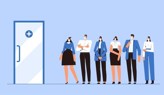 Люди в медицинских масках выстраиваются в очередь к врачу. диагностика коронавируса covid-2019. юноши и девушки заботятся о своем здоровье. концепция борьбы с новым вирусом 2019-ncov.