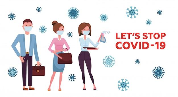 텍스트가있는 의료 마스크를 가진 사람들 코로나 바이러스를 멈추자. 검역의 개념, covid-19, 2019-ncov, 코로나 바이러스와의 싸움. 전염병 예방.