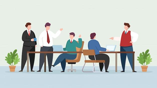 近代的なオフィスの図の人々