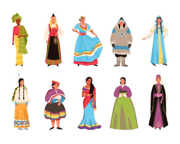 Набор иллюстраций костюмов людей в национальных платьях