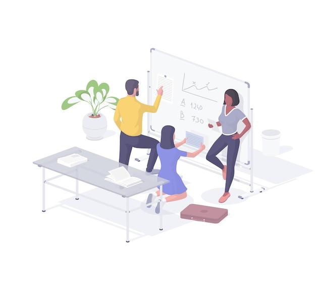 ビジネスソリューションのアイソメ図を探しているオフィスの人々。男性と女性のキャラクターは、ライティングボードでレポートと計算を読みます。クリエイティブな検索とチーム分析が現実的です。