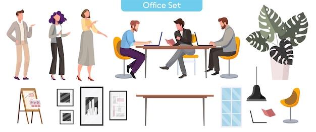 オフィスの人々。同僚がプロジェクトについて議論しています。フリップチャートの近くで話している同僚。職場のビジネスマン。コワーキング広場。チームビルディング、チームワーク、ブレインストーミングのアイデア