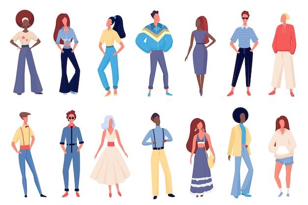 오래 된 패션 의류에있는 사람들은 행에 서있는 젊은 유행 문자를 설정합니다.