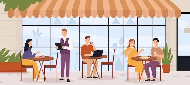 야외 카페에 있는 사람들. 남자와 여자가 앉아 점심과 커피를 즐길 수 있는 레스토랑 거리 파티오. 여름 비스트로 외부 장면 벡터 개념입니다. 일러스트 레스토랑 거리, 외부 여름 비스트로