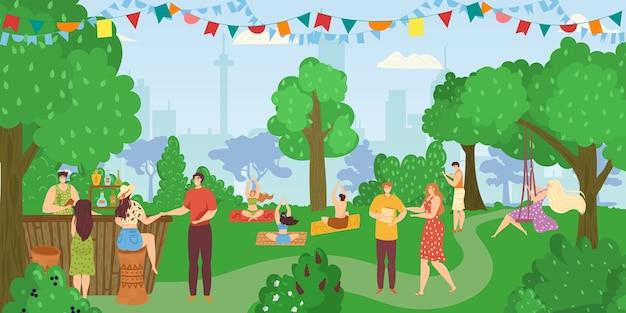 공원에있는 사람들, 친구들이 함께 여름 자연 속에서 재미, 여가 및 휴식을 취하고, 요가 포즈와 피트니스를하고, 음식 키오스크 그림에서 식사합니다. 공원에서 피크닉을 갖는 사람들.