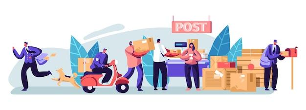 Люди в почтовом отделении отправляют письма и посылки. почтальоны доставляют почту и посылки клиентам. служба доставки почты, почтовые перевозки. профессия, род занятий. мультфильм плоский векторные иллюстрации
