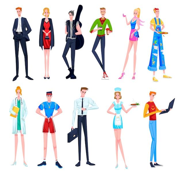 직업 그림 세트, 다른 직업의 만화 여자 남자 캐릭터, 전문 유니폼을 입고있는 사람들