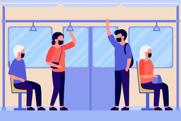 Люди в защитной маске стоят и сидят в транспортном метро, автобусе или поезде внутри