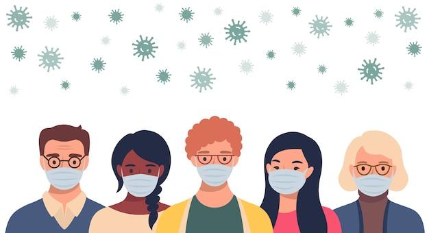평면 스타일의 보호 마스크 및 비행 코로나 바이러스에있는 사람들. 의료 마스크를 착용 한 남녀