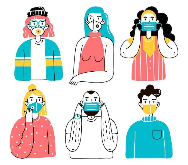 医療用フェイスマスクの人々。男性と女性、男性と女性がウイルス、都市の大気汚染、汚染された空気から身を守る医療用マスクを身に着けているイラスト。