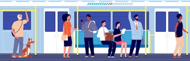 Люди в общественном транспорте. поездка на поезде метро, толпа в городском метро. переполненный вагон, современная городская транспортная векторная иллюстрация. общественный транспорт подземное метро