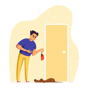 Люди в ссоре иллюстрации, мультфильм злой владелец человек персонаж ругает грустную собаку домашнее животное за повреждение домашней вещи на белом