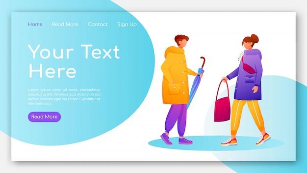 レインコートランディングページフラットカラーベクトルテンプレートの人々。歩く白人の人間のホームページのレイアウト。漫画のキャラクターと雨の日1ページのウェブサイトのインターフェイス。雨天ランディングページ