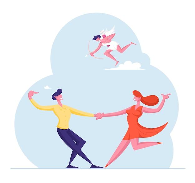 낭만적 인 관계에있는 사람들. 나비와 하늘을 날고 화살을 가진 큐피드 춤 날짜에 커플.