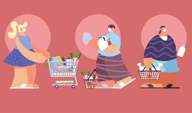 Люди в шоппинге супермаркета, социальное дистанцирование коронавирусом