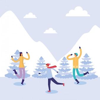 雪景色の練習の人々