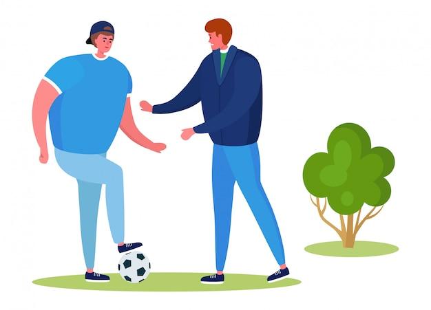 Люди в спорте на открытом воздухе иллюстрации, активные персонажи мультфильмов повеселиться от здорового образа жизни на белом