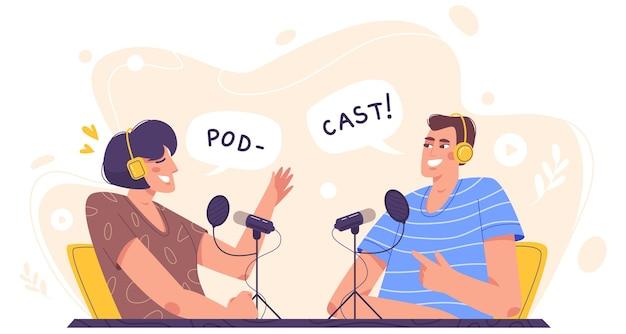 플랫 스타일로 오디오 팟 캐스트를 녹음하는 스튜디오에있는 사람들