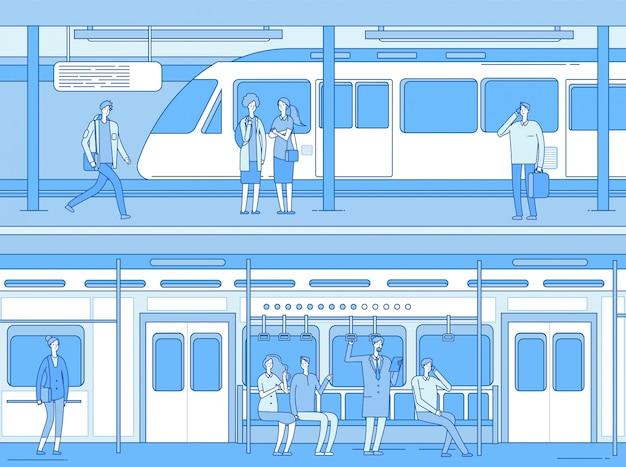 지하철에있는 사람들. 남자 여자 기다리는 기차 지하철 플랫폼 역. 기차 내부에있는 사람. 지하 운송
