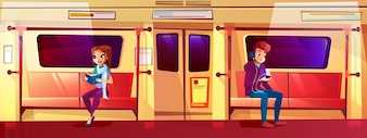 People in subway train illustration of teen boy and girl in metro.
