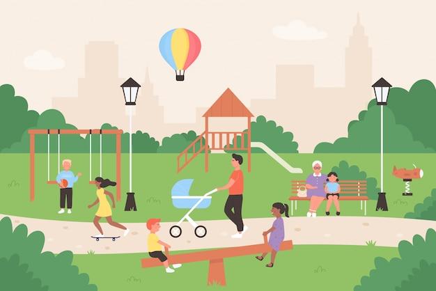 夏の都市公園のイラストの人々。ベンチに座っているフラットな家族と子供の漫画のキャラクター、ゲームをしている子供たちが一緒に楽しんでいます。
