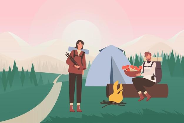 여름 자연 캠핑에있는 사람들, 텐트와 캠프 파이어 옆에 앉아있는 만화 젊은 관광객