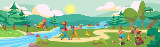 夏の自然公園の人々のフラットベクトルイラスト。家族の友達の漫画のキャンパーのキャラクターが一緒に時間を過ごす、ハイキング、料理、キャンプファイヤーのそばに座って