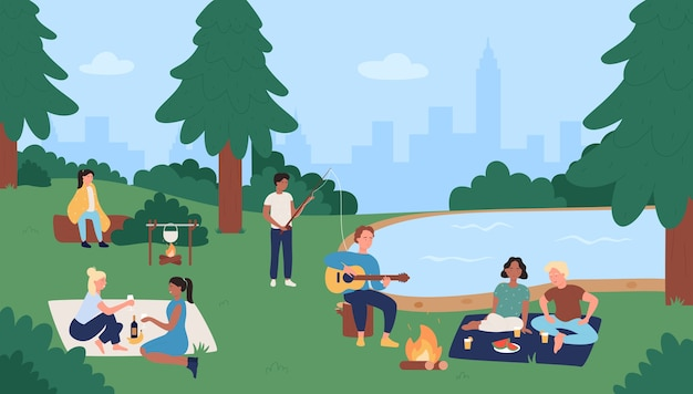 夏の屋外都市公園活動の人々。友達は一緒にピクニック、釣り、食事を楽しんでいます